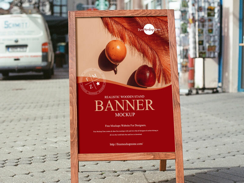 Free Wooden Stand Banner Mockup PSD