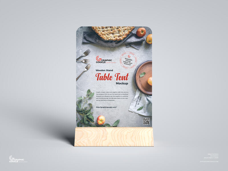 Free Wooden Stand Table Tent Mockup PSD