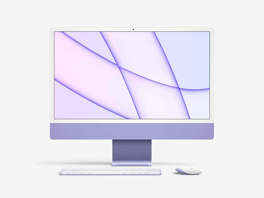 Free iMac 24-inch 2021 Mockup PSD Template