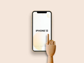 Free iPhone 12 with Wooden Hand Mockup PSD Template
