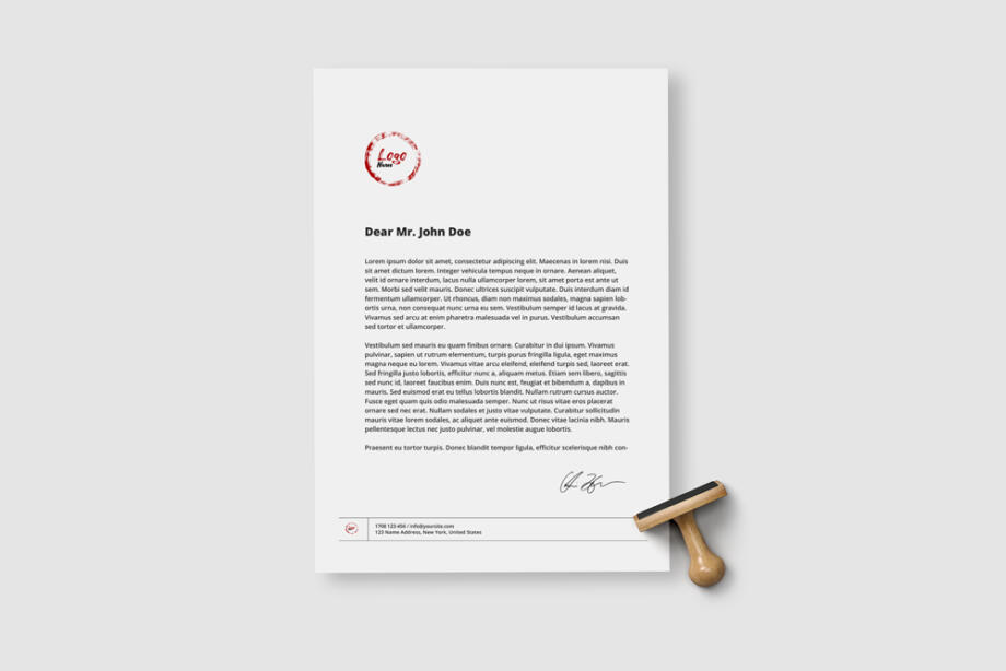 Free A4 Paper Sheet with Stamp Mockup PSD Template
