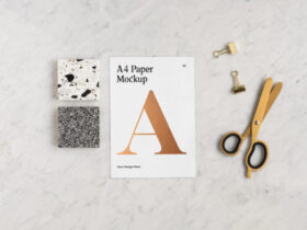 Free A4 Paper with Scissors Mockup PSD Template