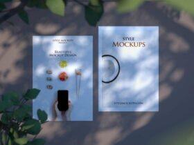Free A5 Flyer Realistic Scene Mockup PSD Template