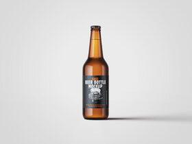 Free Beer Bottle Mockup PSD Template