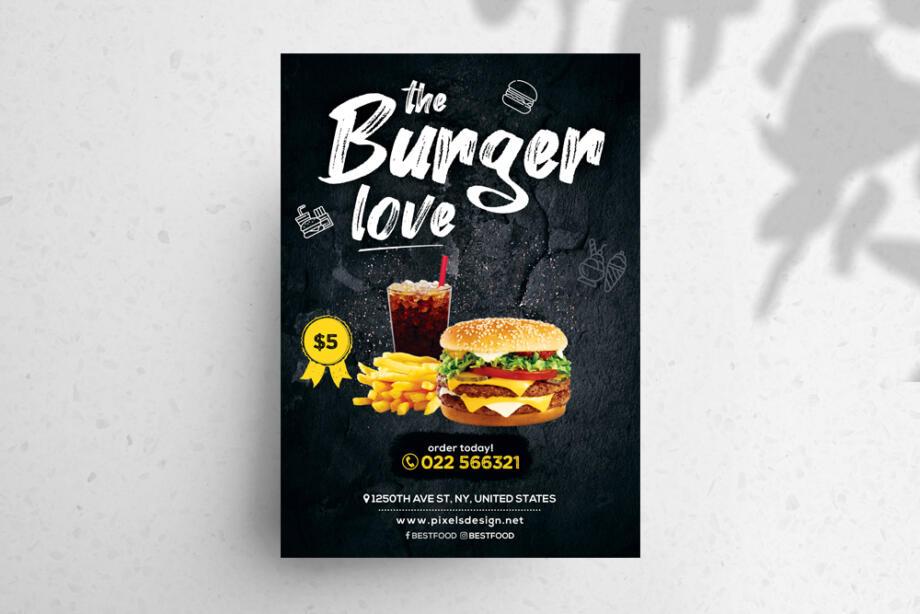 Free Burger Food Restaurant PSD Flyer Template