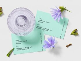 Free Business Card with Flowers Mockup PSD Template