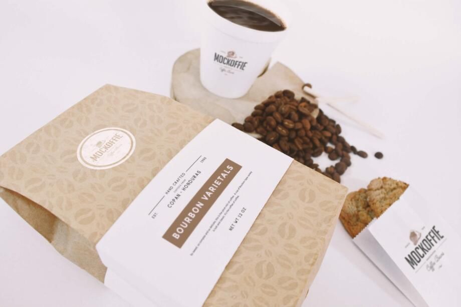 Free Coffee Bag and Cup Mockup PSD Template