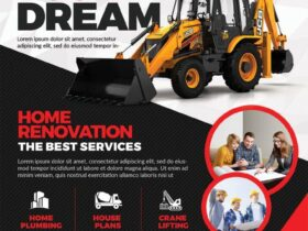 Free Construction Company Flyer PSD Template