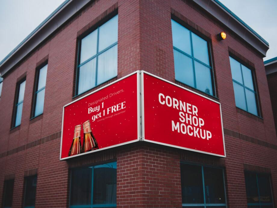 Free Corner Shop Facade Mockup PSD Template