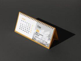 Free DL Desk Calendar Mockup Psd Template