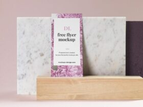 Free DL Flyer on Marble Mockup PSD Template