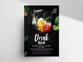 Free Drink Week PSD Flyer Template