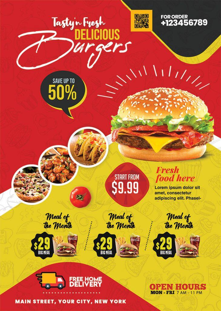 Free Fast Food Flyer Design PSD Template