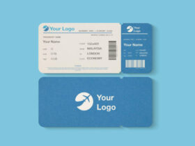 Free Flight or Event Ticket Mockup PSD Template