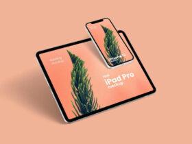 Free Floating iPhone 12 & iPad Pro Mockup PSD Template