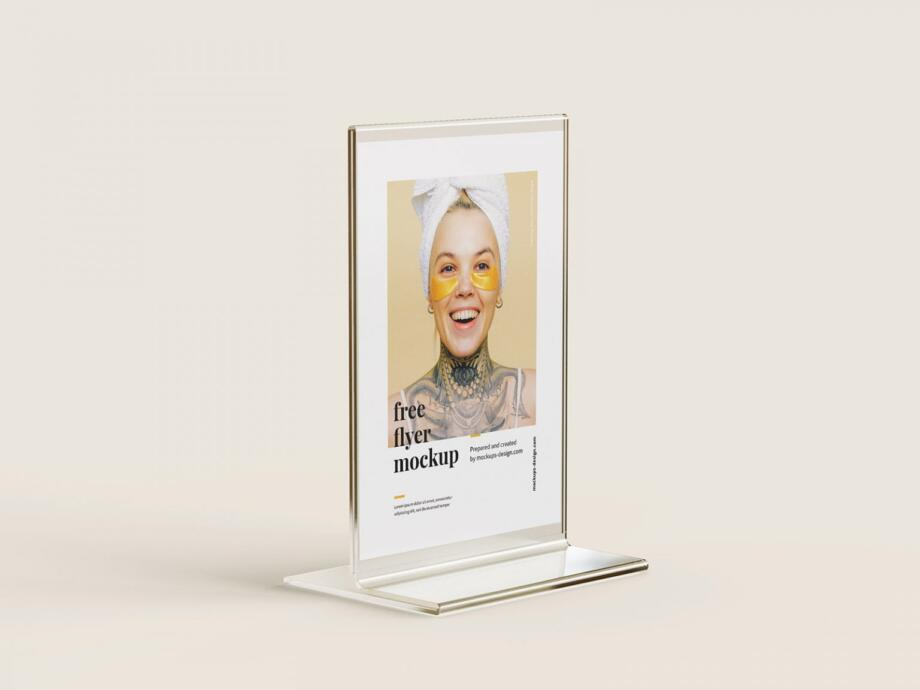 Free Flyer Stand Mockup PSD Template