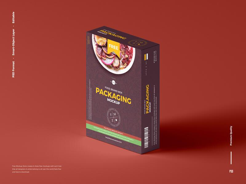 Free Food Brand Box Packaging Mockup PSD Template
