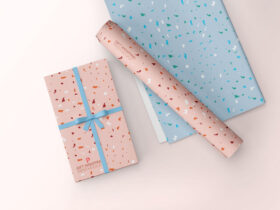 Free Gift Wrapping Paper Mockup PSD Template