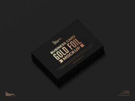 Free Gold Foil Business Card Mockup PSD Template
