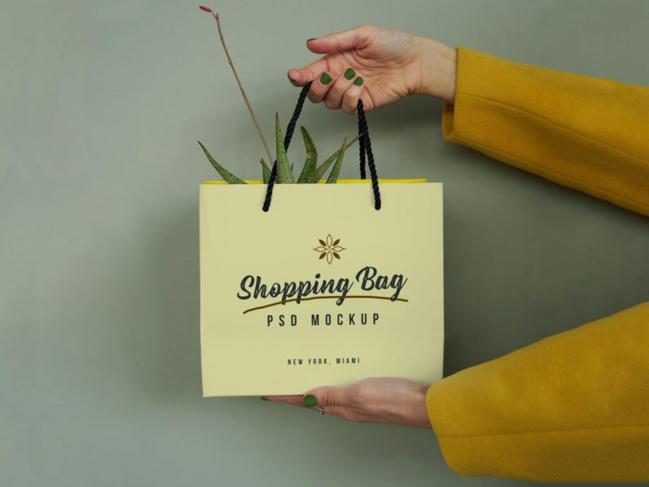 Free Hand Holding Shopping Bag Mockup PSD Template
