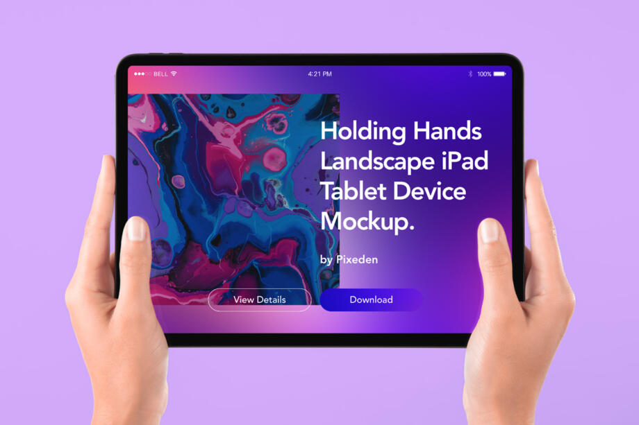 Free Hand Holding Tablet iPad Mockup PSD Template