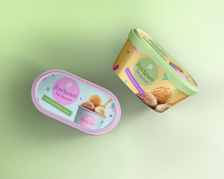 Free Ice Cream Tub Mockup PSD Template