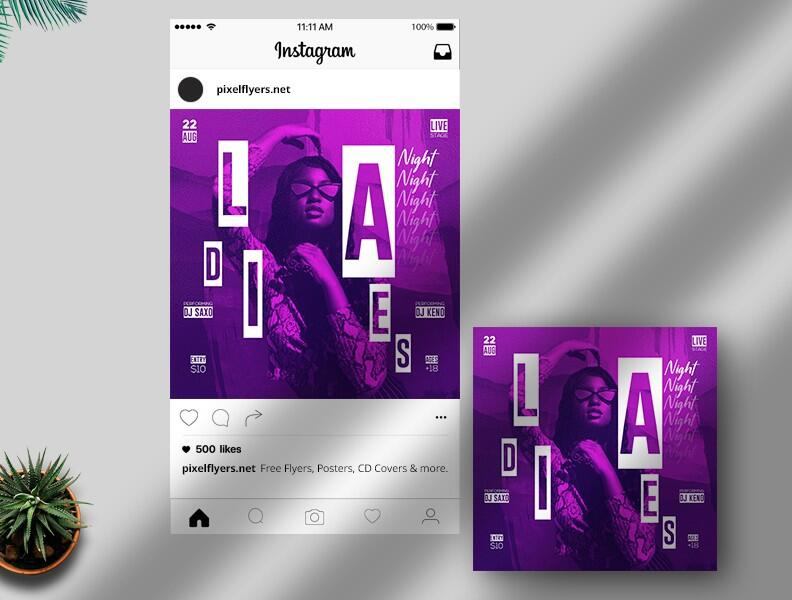 Free Ladies Night Out Instagram Post PSD Template