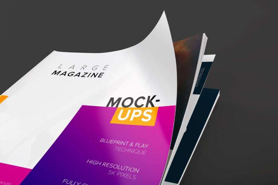Free Large Magazine Cover Close Up View Mockup PSD Template