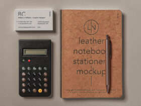 Free Leather Cover Notebook Mockup Set