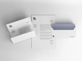 Free Letterhead and Envelope Mockup PSD Template