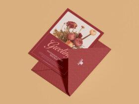 Free Lovely 5×7 Greeting Invitation Card Mockup PSD