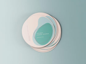 Free Minimal Rounded Coasters Mockup PSD Template