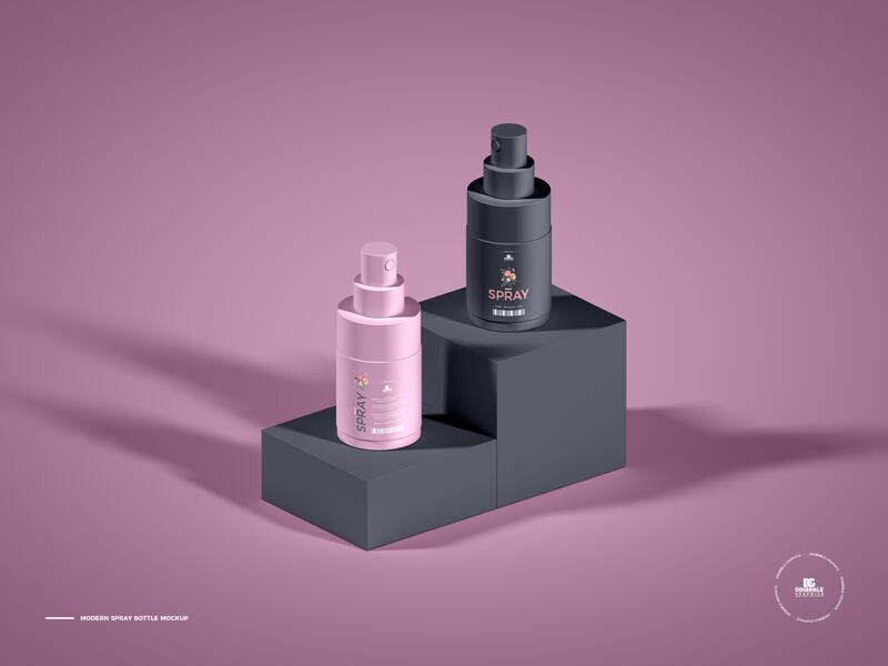 Free Modern Spray Bottle Mockup PSD Template