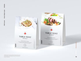 Free Modern Table Tent Mockup PSD Template
