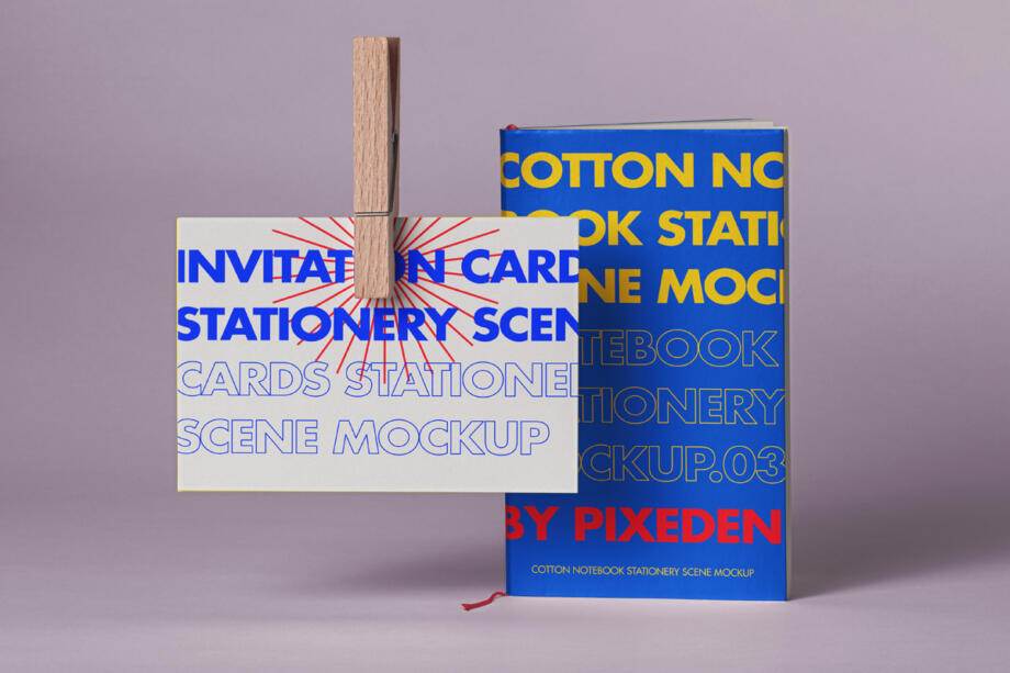 Free Notebook Card Mockup Scene PSD Template