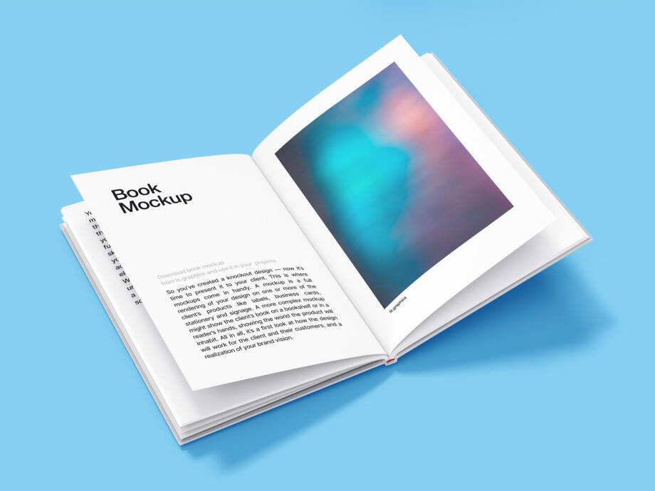 Free Open Hardcover Book Mockup PSD Template
