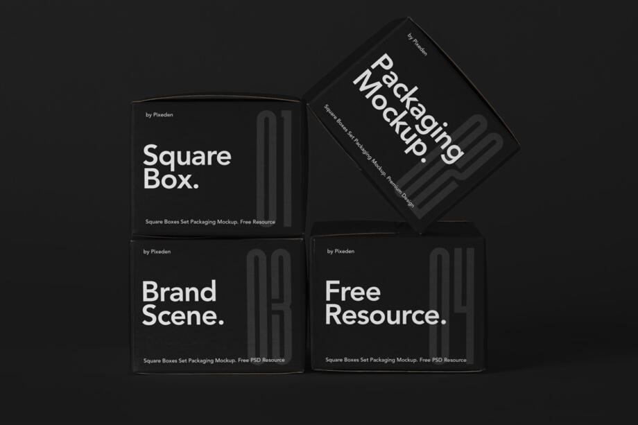 Free Packaging Square Boxes Mockup Set PSD Template
