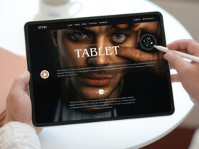 Free Person Working on Modern Tablet Mockup PSD Template