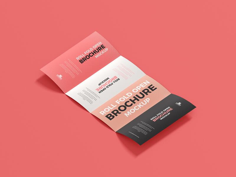 Free Roll Fold Open Brochure Mockup PSD Template