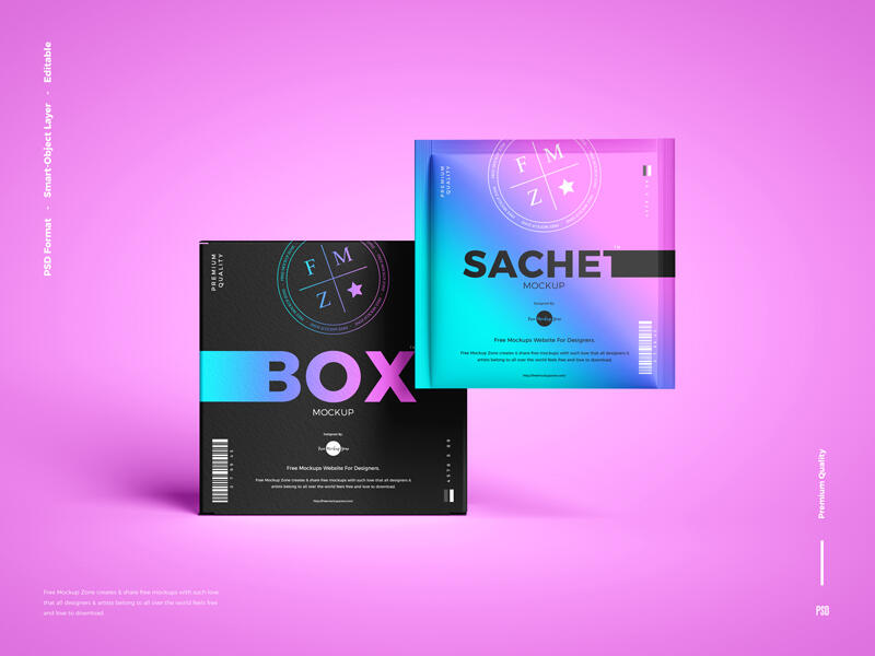 Free Sachet With Box Packaging Mockup PSD