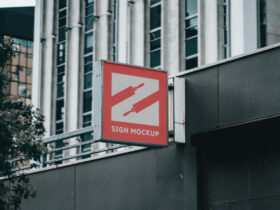 Free Sign on Building Mockup PSD Template