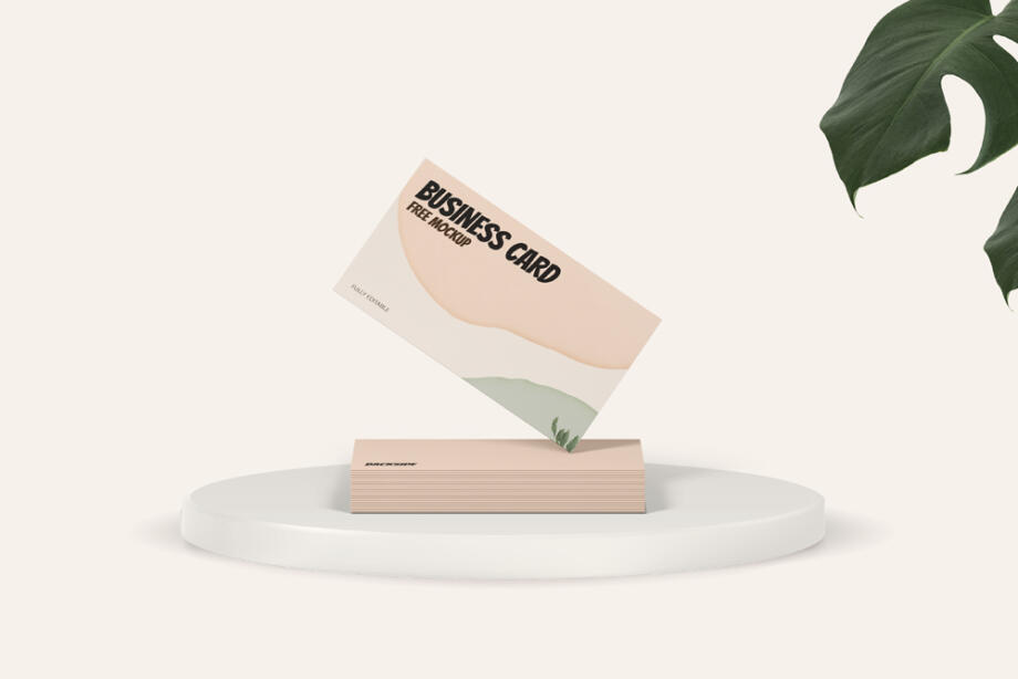 Free Standing Business Card Mockup PSD Template