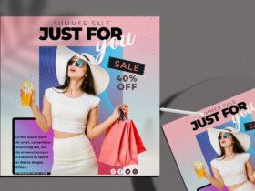Free Summer Sale Social Media Flyer PSD Template