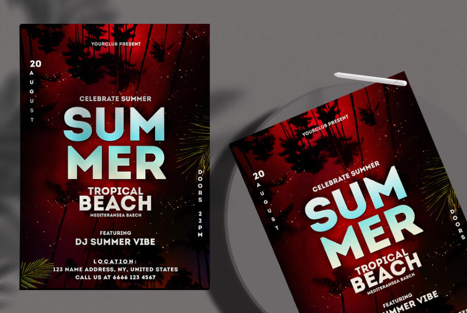 Free Summer Tropical Night Flyer PSD Template