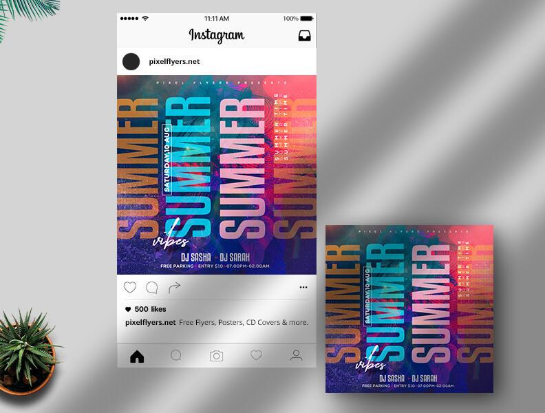 Free Summer Vibe Instagram Banner PSD