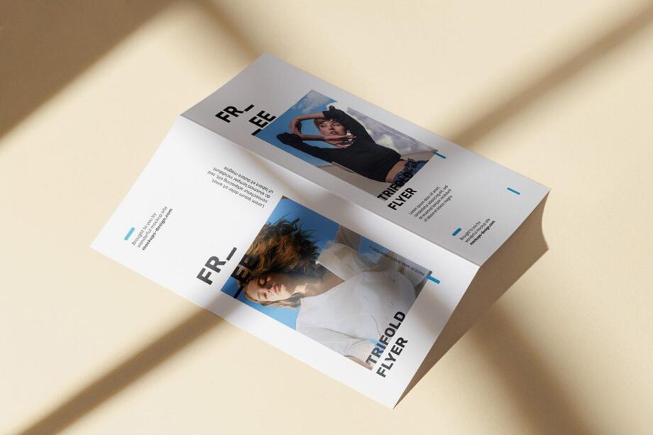 Free Sunny Bi-fold Flyer Mockup Psd Template
