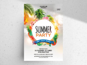 Free The Summer Party PSD Flyer Template