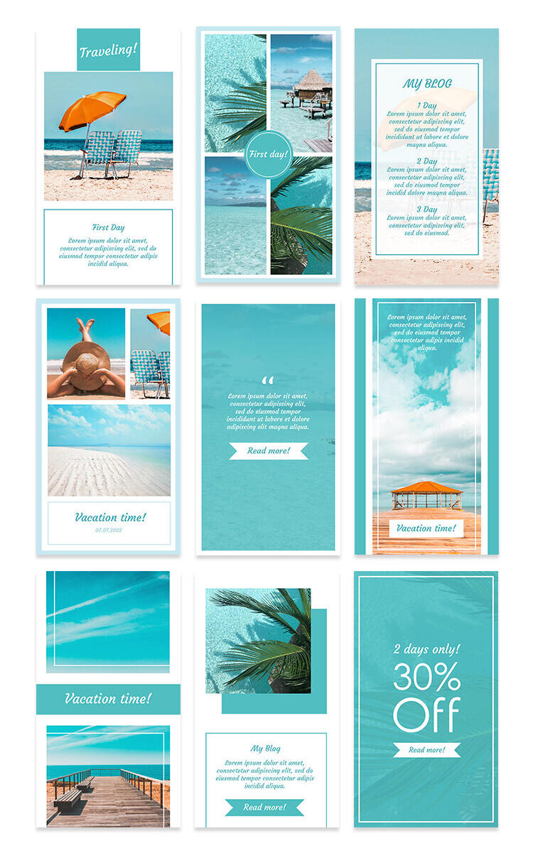 Free Vacation Instagram Stories Set PSD Template