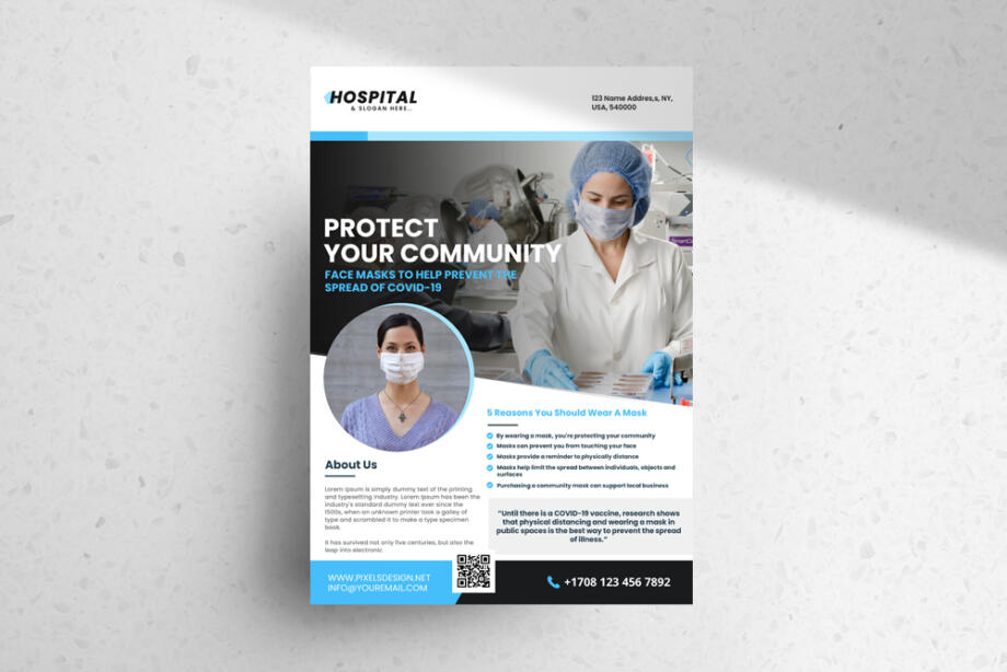 Free Wear a Mask Ad PSD Flyer Template