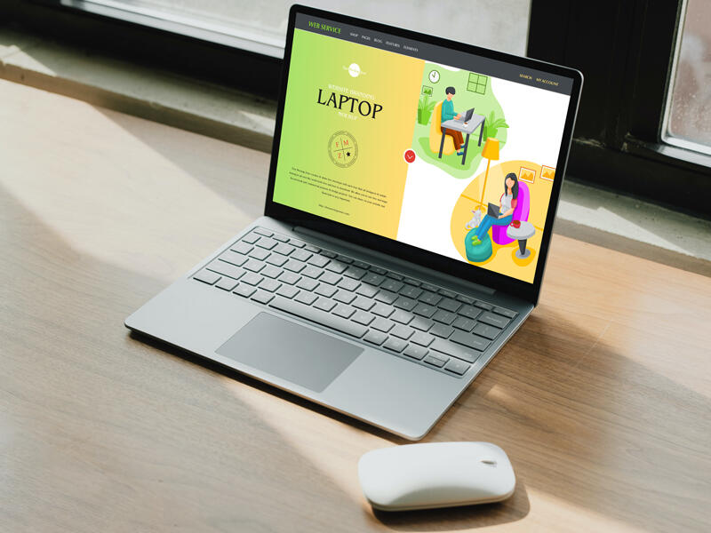 Free Website Branding Laptop Mockup PSD Template